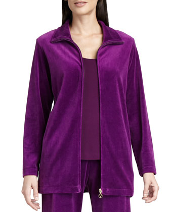 Long Velour Zip-Front Jacket