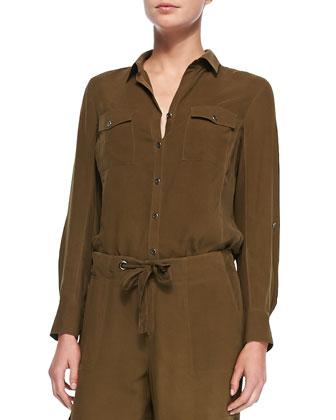 Silk Safari Shirt, Petite