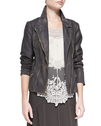 Norton Snakeskin-Print Moto Jacket, Supima?? Cotton Basic Tank Top, ...