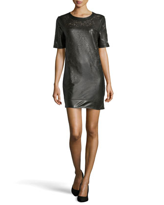 Olina Laser-Cut Leather Shift Dress, Seagrass