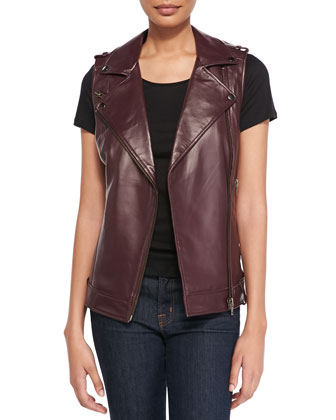 Leather Moto Vest with Belted Hem