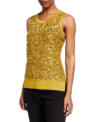 Sequined Metallic Knit Tank, Coriander