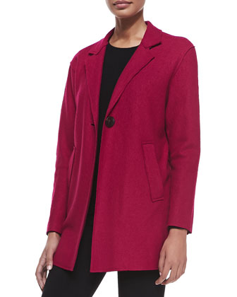 One-Button 3/4-Length Wool-Blend Jacket