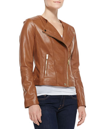 Golden-Zip Leather Moto Jacket