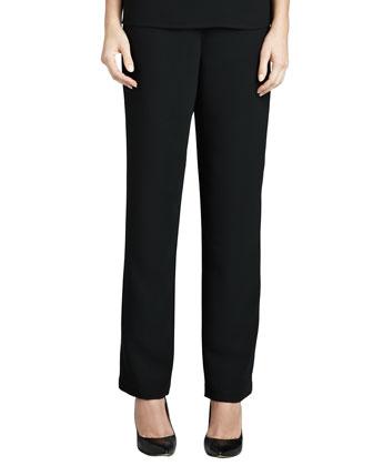 Microfiber Straight-Leg Pants, Petite