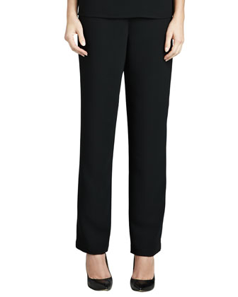 Leopard-Print Silk Blouse & Microfiber Straight-Leg Pants