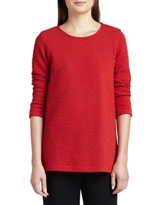 Ottoman Knit 3/4-Sleeve Tunic & Flat Wool-Knit Pants, Petite