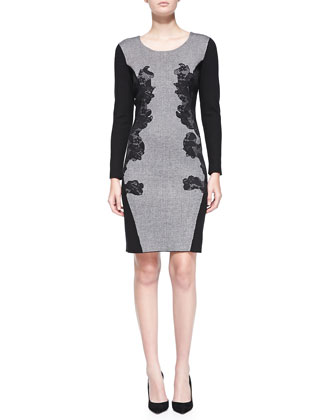 Long-Sleeve Lace Applique Dress