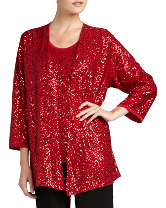 Sequined Open Jacket, Petite