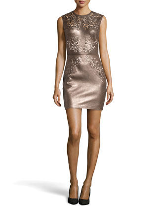 Nadia Cutout Leather Dress, Metallic Brown