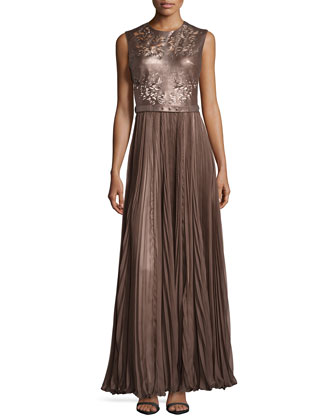 Naya Laser-Cut Leather Gown, Metallic Walnut