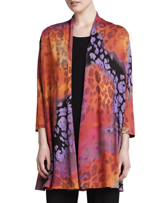 Kaleidoscope-Print Cardigan, Kinetic Tank & Stretch-Knit Slim Pants, Petite