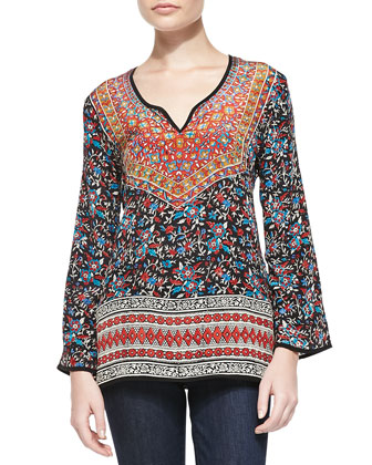 Monika Printed Silk Tunic, Women's