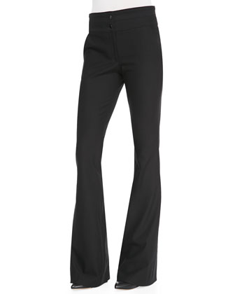 Flared-Leg Suiting Pants, Black