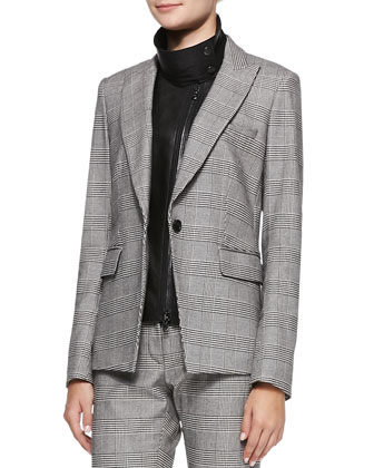 Check Suit Jacket with Leather Dickey & Cigarette Trousers