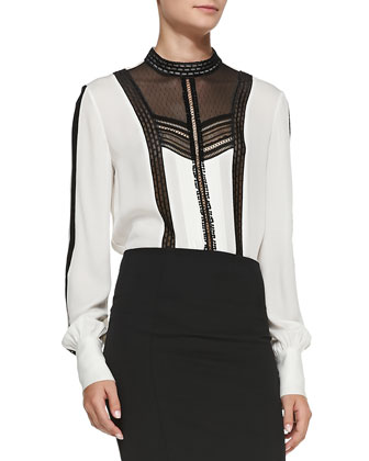 Leather Funnel-Neck Driving Jacket, Long-Sleeve Lace-Inset Blouse & ...