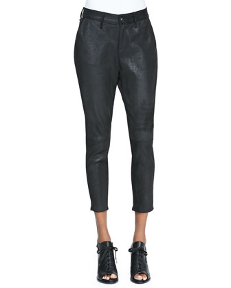 Dash Cropped Suede Trousers, Black