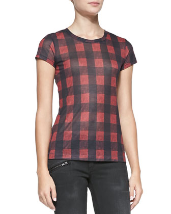 Buffalo Check Short-Sleeve Tee & RBW 23 Blackthorne Distressed Skinny Jeans