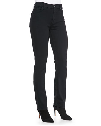 Slim Straight Denim Jeans, Overdye Black