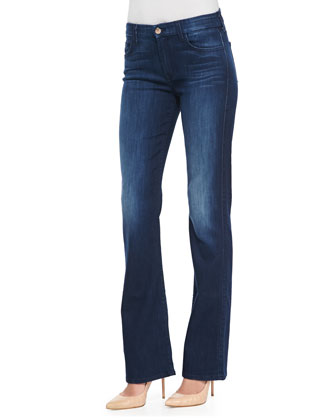 Boot-Cut Denim Jeans, Medium Indigo