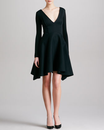 Seamed Plunging Long-Sleeve Dress, Black