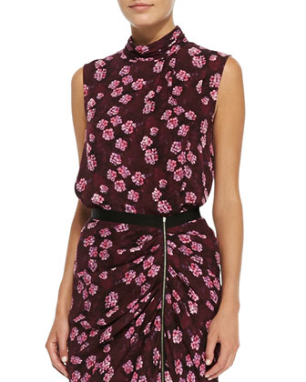 Draped Cherry-Blossom-Print Top & Gathered Asymmetric Skirt