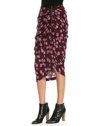Cherry-Blossom-Print Gathered Asymmetric Skirt