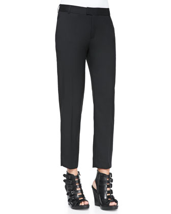 Straight-Leg Slit-Cuff Ankle Pants