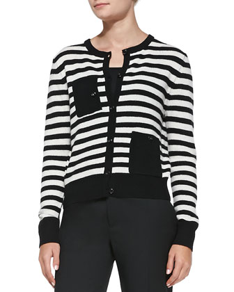 Striped Knit Pocket Cardigan & Straight-Leg Slit-Cuff Ankle Pants