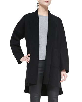 Boiled Wool Kimono Coat, Long-Sleeve Cashmere Box Top & Pleated Wool Gauze ...