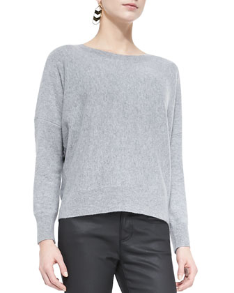 Long-Sleeve Cashmere Box Top, Women's