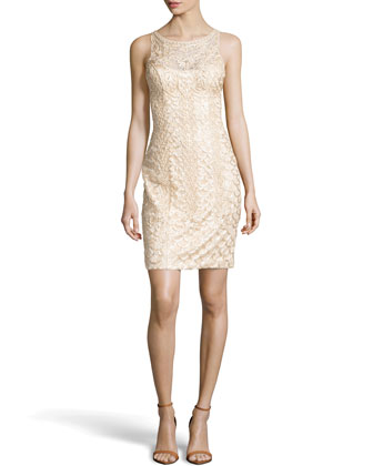 Beaded Scoop-Back Cocktail Dress, Champagne