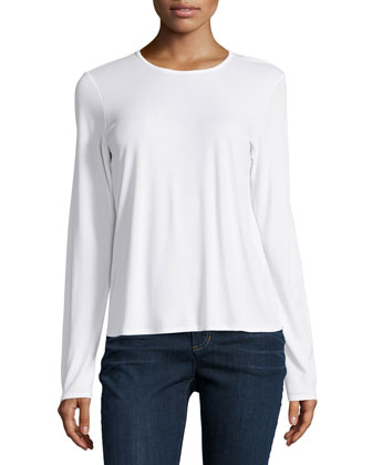 Long-Sleeve Silk Crewneck Tee, Women's