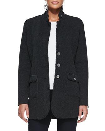 Felted Merino Long Jacket, Charcoal, Women's