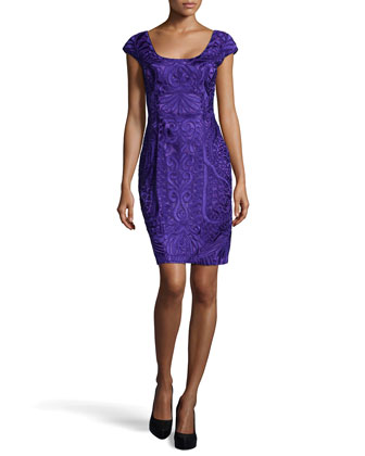 Fitted Embroidered Cap-Sleeve Dress, Purple