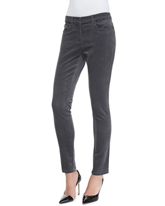 Long-Sleeve Slim Jersey Top & Corduroy Skinny Stretch Jeans, Petite