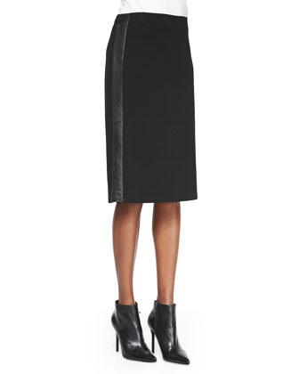 Ponte Knee-Length Skirt with Leather Sides, Petite