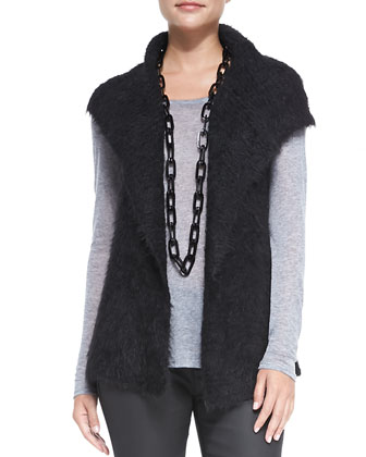 Airy Alpaca Mesh Vest, Long-Sleeve Tee & Waxed Stretch Skinny Jeans