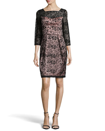 Lace 3/4-Sleeve Sheath Dress