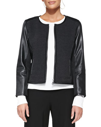 Leather-Trim Merino Short Zip Jacket, Petite