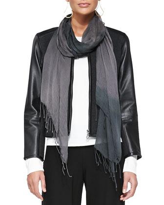 Asymmetric Zip-Front Wool-Blend Jacket, Jersey Top, Skinny Pants & Shibori ...