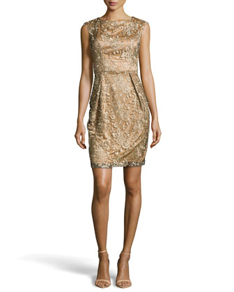 Cap-Sleeve Embroidered-Lace Dress, Gold Novelty
