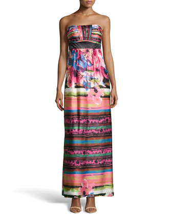 Strapless Floral-Print Satin Maxi Dress