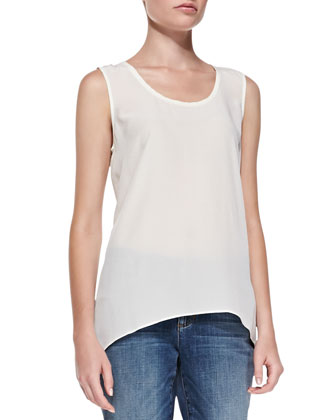 Sleeveless Long Silk Top, Women's
