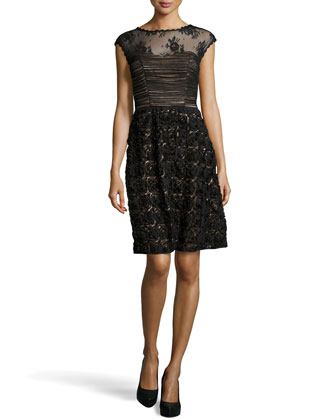 Embroidered Rosette Skirt Cocktail Dress