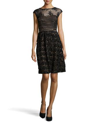 Embroidered Rosette Skirt Cocktail Dress