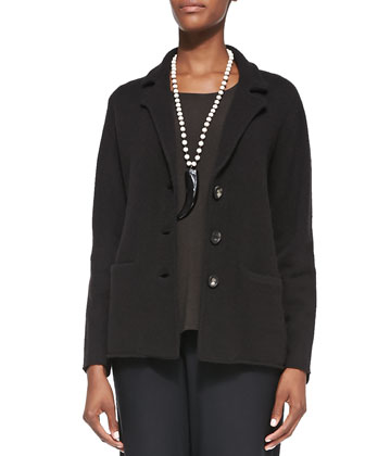 Notch-Collar Lambswool Jacket, Long-Sleeve Slim Jersey Top & Washable-Crepe ...