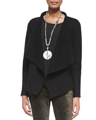 Bias-Twisted Wool Drape Jacket, Slim Jersey Top & Velveteen Skinny Jeans