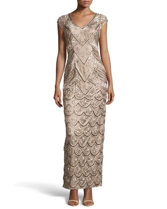 V-Neck Floral Ribbon & Bead Embellished Dress, Taupe
