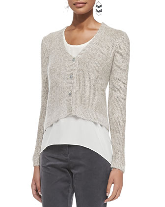 V-Neck Metallic Sheen Short Cardigan, Women's